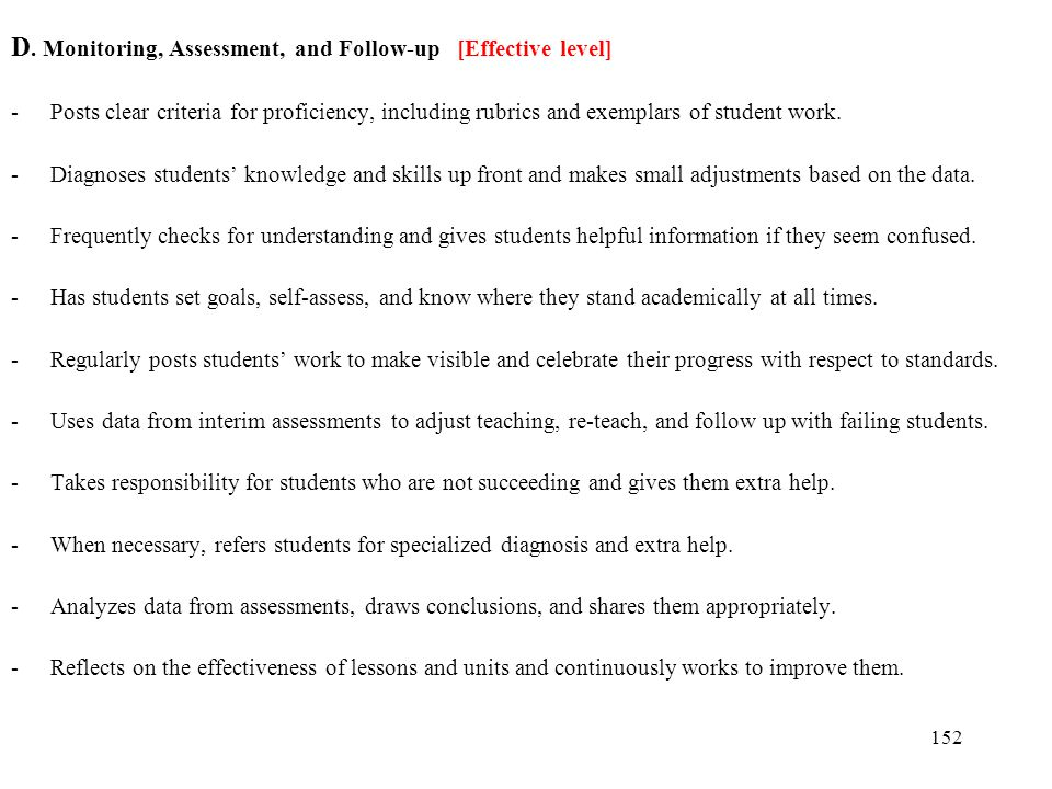 D. Monitoring, Assessment, and Follow-up [Effective level]